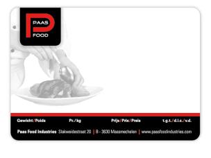 Etiketten voor Paas Food Industries NV