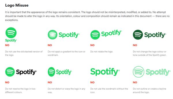 Voorbeeld van hoe het Spotify-logo te gebruiken, afgebeeld in de huisstijlgids