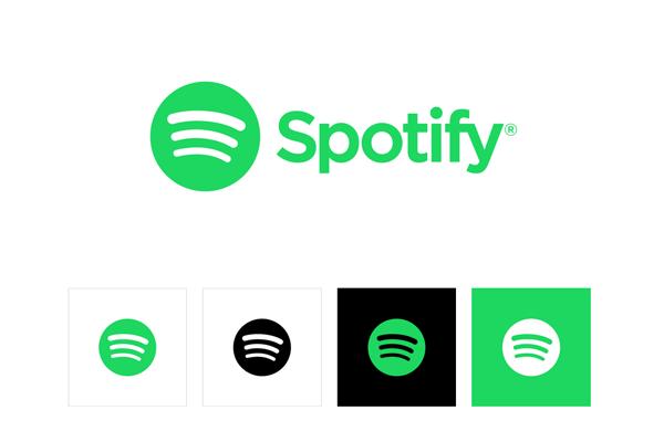 het logo van Spotify, afgebeeld in de huisstijlgids